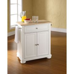 Crosley Alexandria Kitchen Island Uniforms Natural Wood Top Portable In