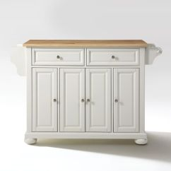 Crosley Alexandria Kitchen Island Costco Sink Natural Wood Top In White By