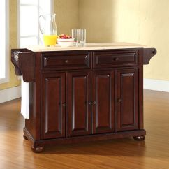 Crosley Alexandria Kitchen Island Hotel With Hong Kong Natural Wood Top In Vintage