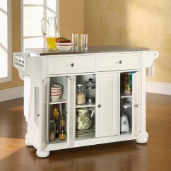 Crosley Alexandria Kitchen Island Tile Floors In Stainless Steel Top White