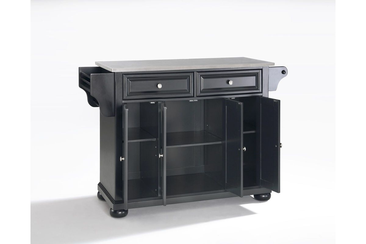 Alexandria Stainless Steel Top Kitchen Island in Black by