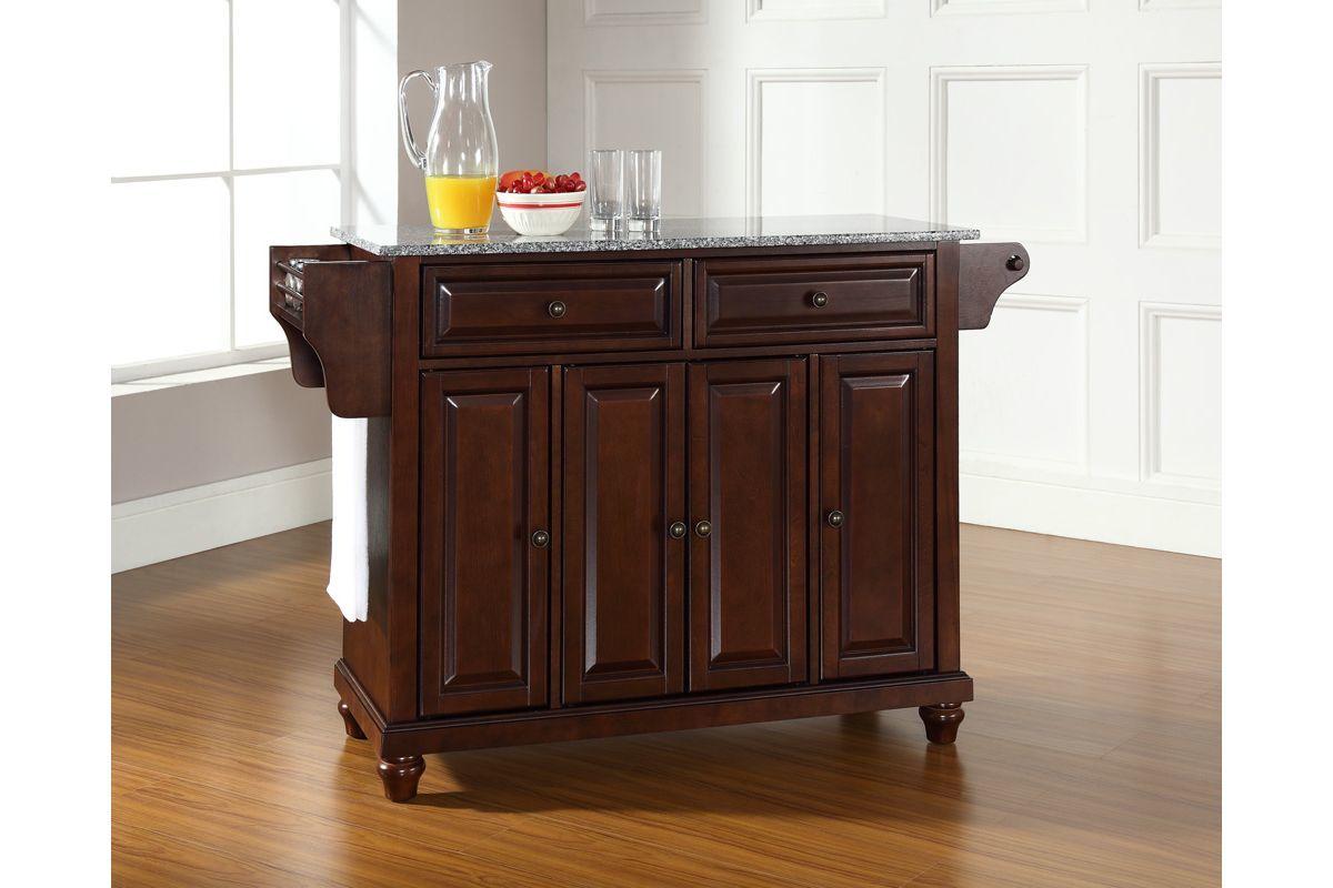 mahogany kitchen island antique blue cabinets cambridge solid granite top in vintage