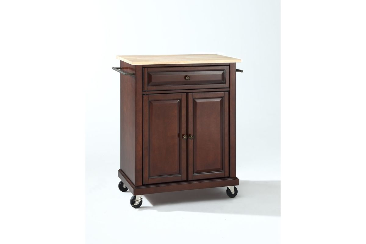 mahogany kitchen island cabinet hardware natural wood top portable cart in vintage