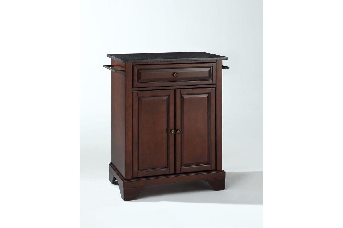 mahogany kitchen island sliding baskets lafayette solid black granite top portable