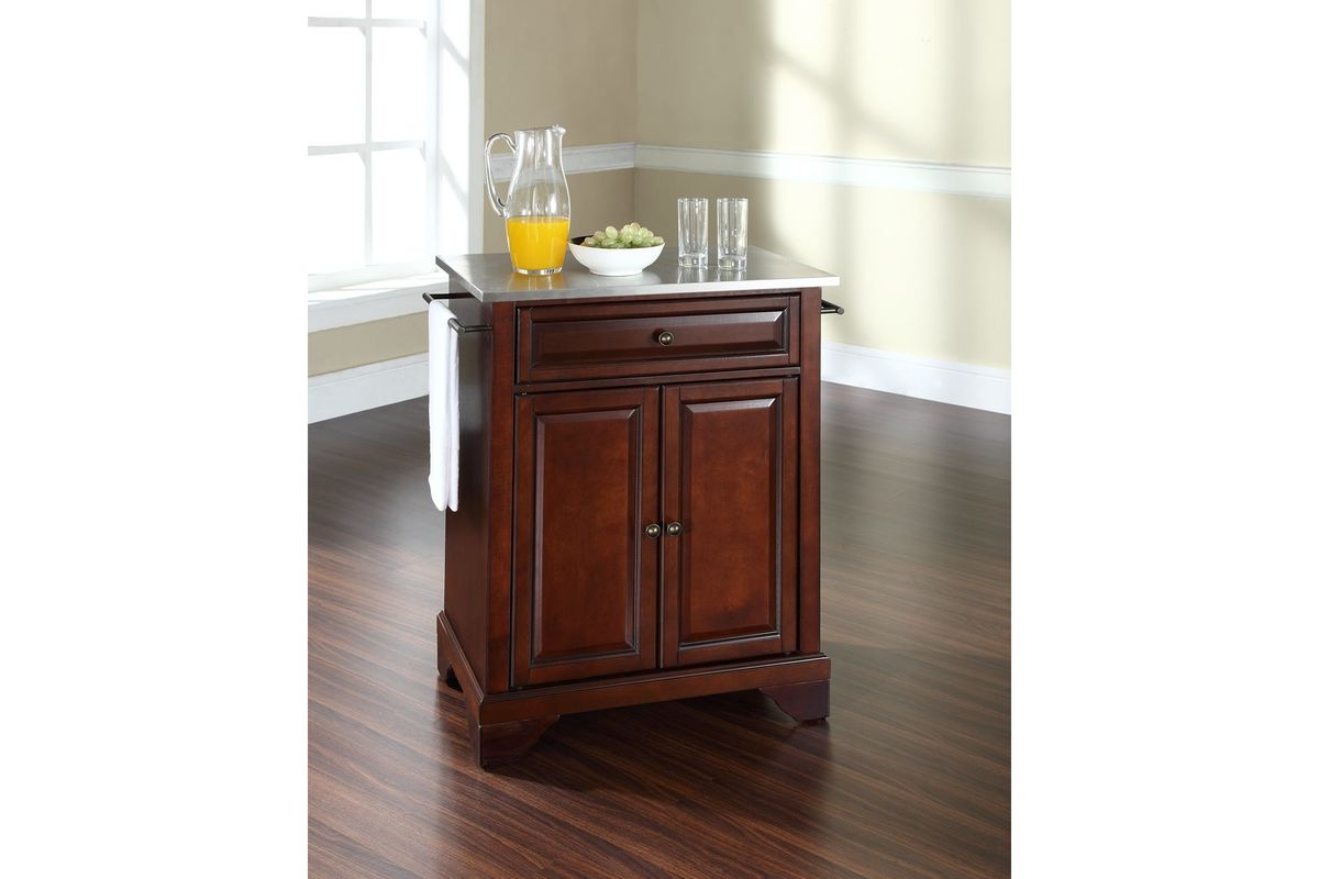 mahogany kitchen island www designs layouts lafayette stainless steel top portable in
