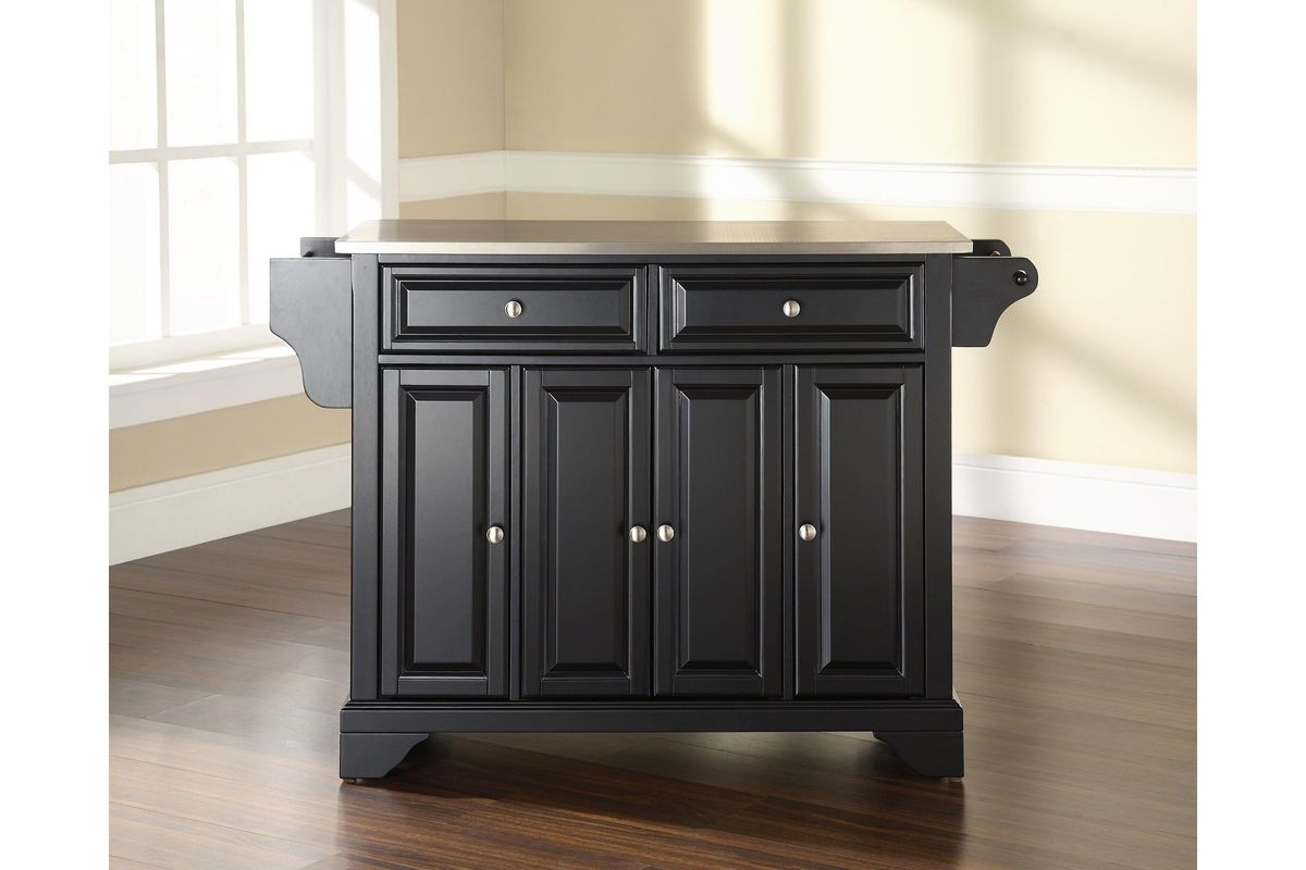crosley kitchen island elkay sinks lafayette stainless steel top in black by ...