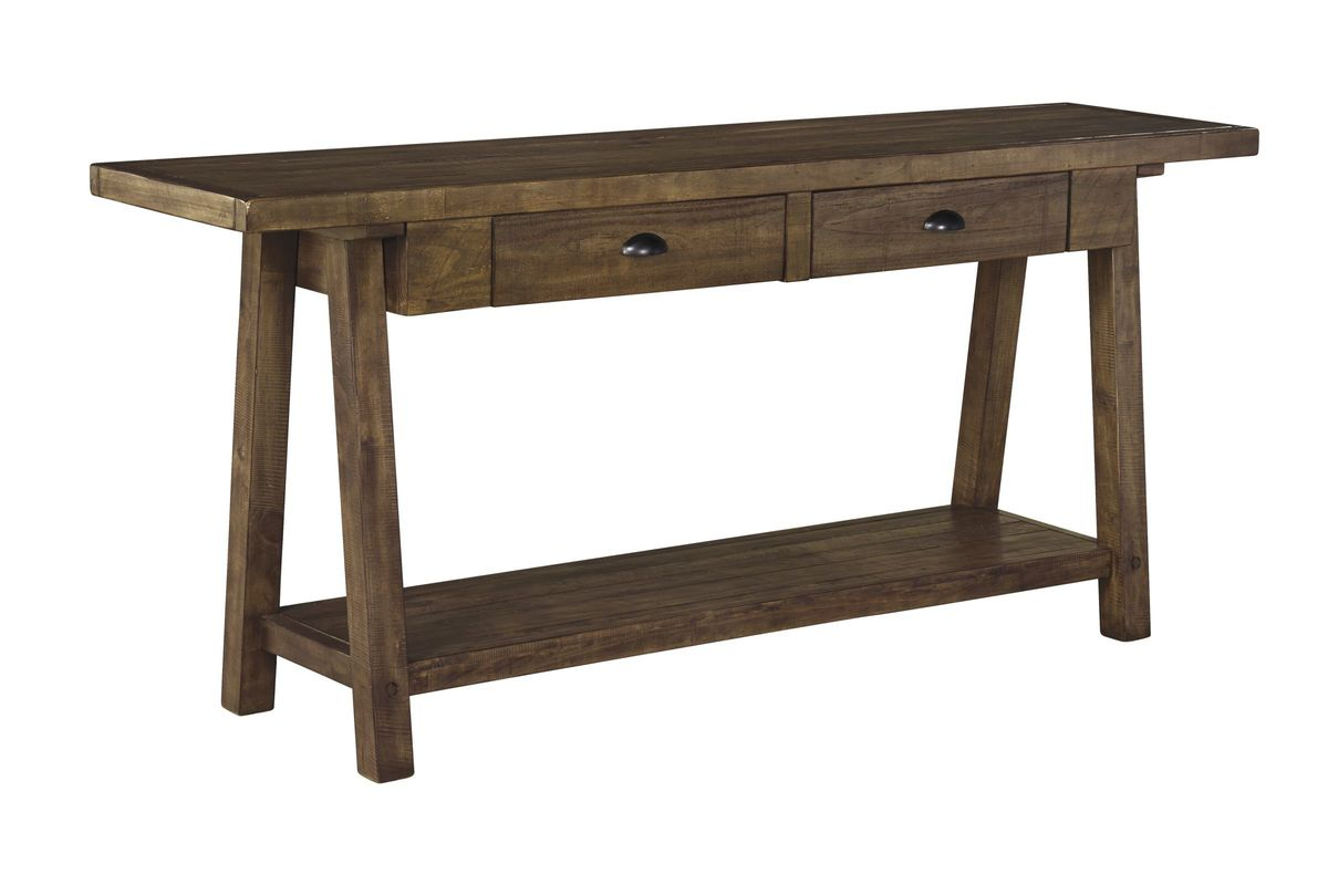 rustic cream sofa table small es configurable sectional black faux leather dondie in brown by ashley at gardner white