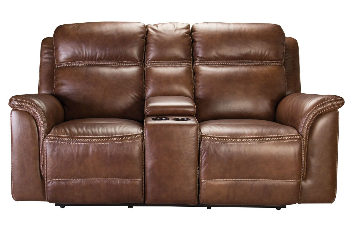 Fargo Leather Power Reclining Loveseat With Console At