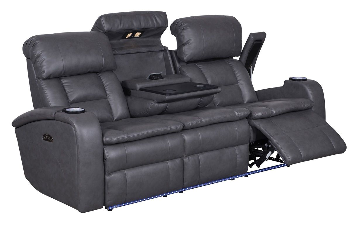 microfiber reclining sofa with drop down table charcoal gray ideas and loveseat zenith power