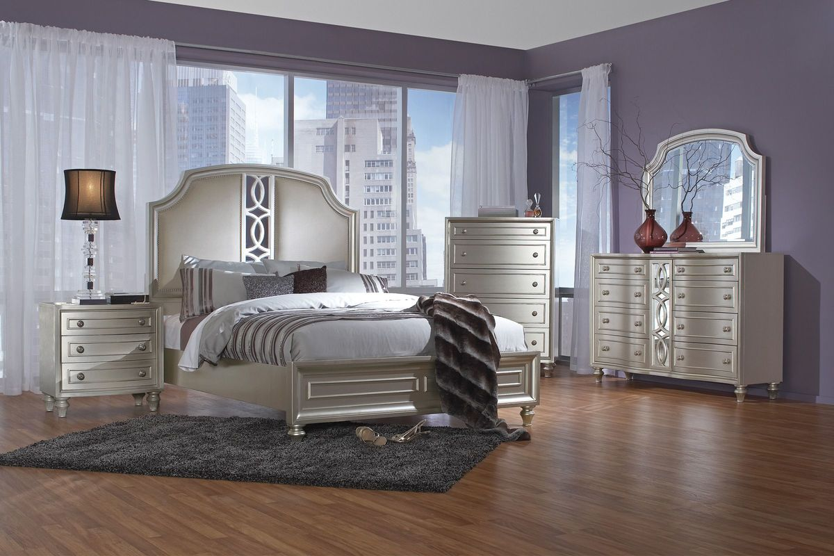 "colleen 5-piece queen bedroom set with 32"" led-tv"