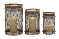 Coastal Inspired Iron Wire Wrapped Candle Holders (Set of 3)