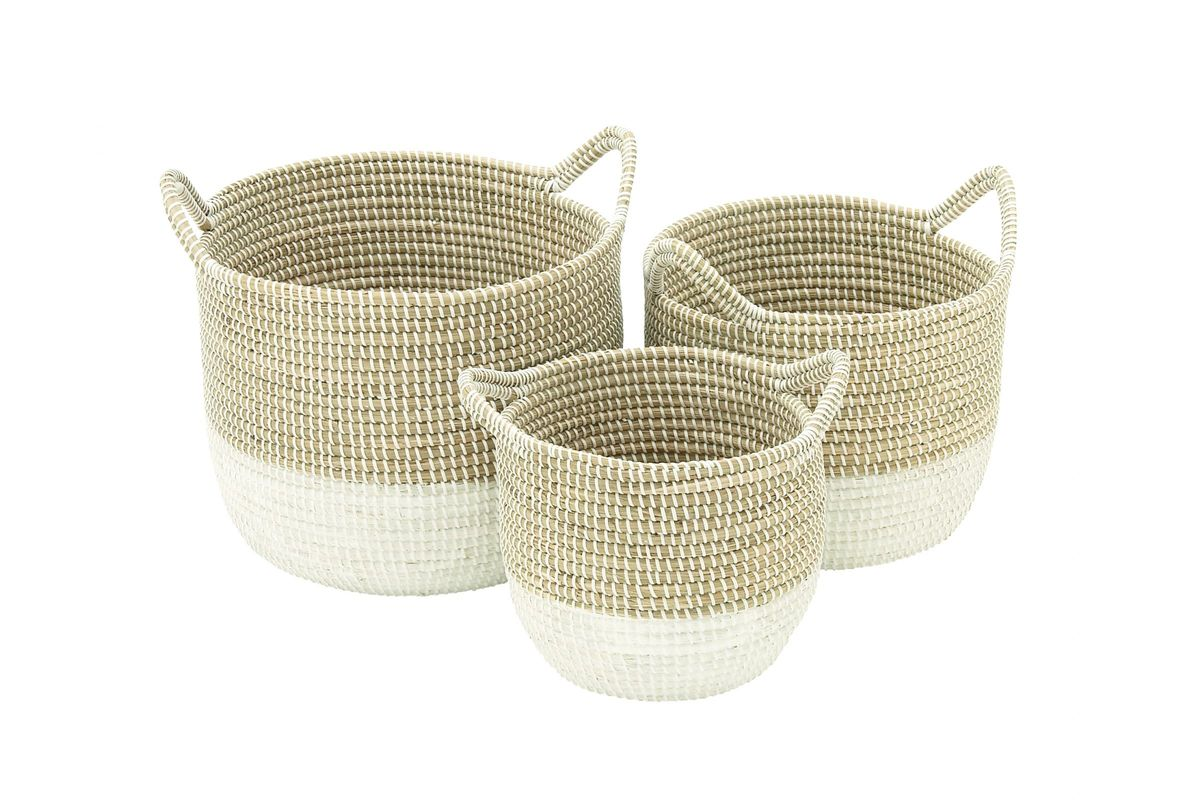 sea grass chairs two person rocking chair coastal living round seagrass baskets with white bases (set of 3)