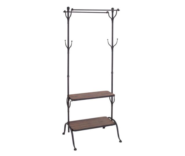Rustic Iron Free Standing Coat Rack And Shelves From Gardner White Furniture