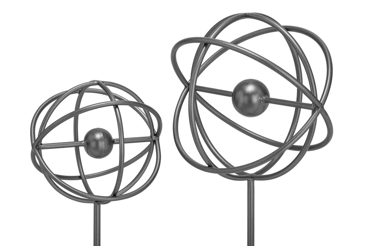 Industrial Arts Spherical Ring Sculptures Set Of 2 In Silver