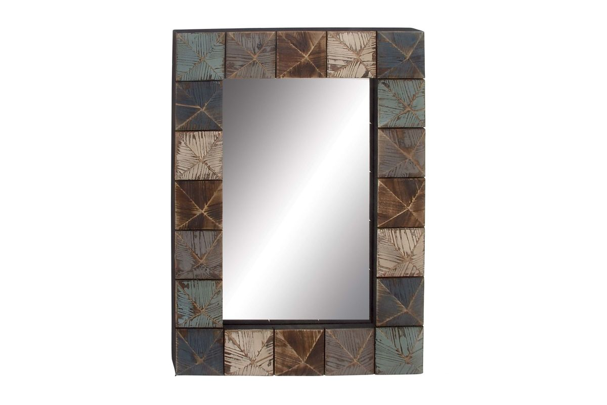 Rustic Reflections Rectangular Wall Mirror With Distressed