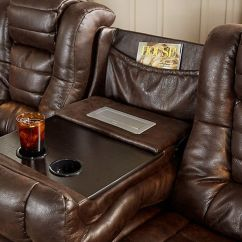 Microfiber Reclining Sofa With Drop Down Table Beds Queen Size Reviews Highway To Home Power