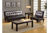 Jesner Biscuit Tufted Leatherette Convertible Chair & Ottoman