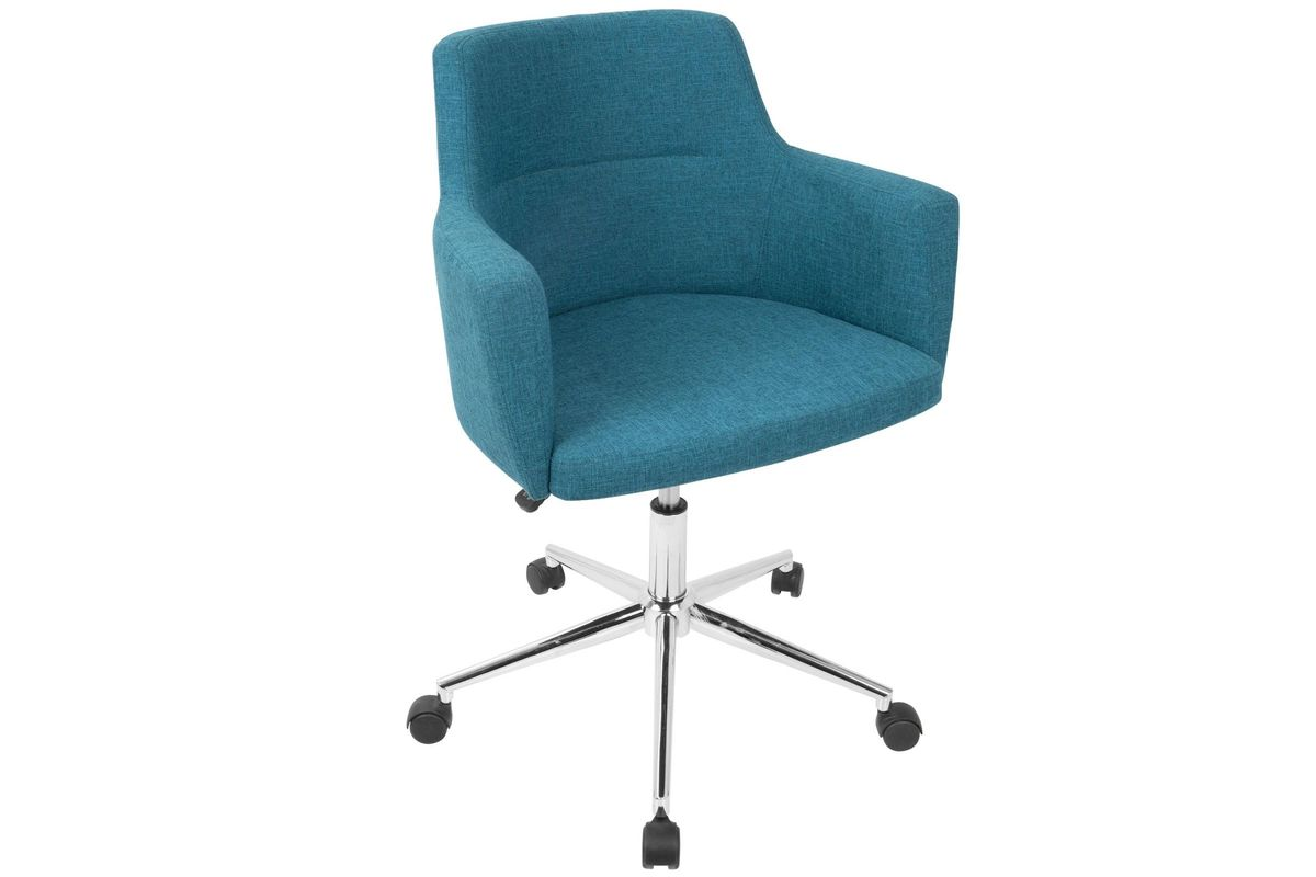 desk chair fabric hanging decor andrew contemporary adjustable office in teal by