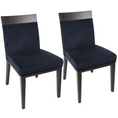 Navy Blue Dining Chairs Set Of 2 Staples Desk Chair Denver Contemporary In Velvet By Lumisource From