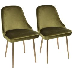 Modern Green Dining Chairs Gray Kitchen Chair Covers Marcel Contemporary Set Of 2 In