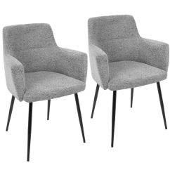 Gray Accent Chairs Set Of 2 Posture Chair Care Andrew Contemporary In Heathered