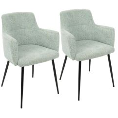 Contemporary Accent Chair Blue Barrel Andrew Chairs Set Of 2 In Seafoam Green By Share