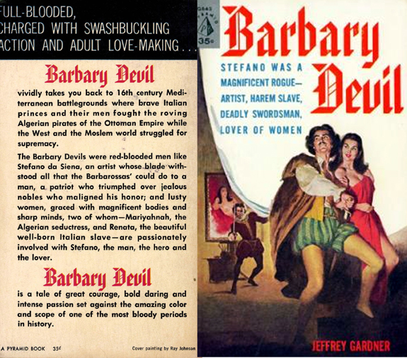 Barbary Devil Gardner F Fox scratchboard cover art Kurt Brugel historical fiction Italian and North Africa Tripoli Ottoman empire