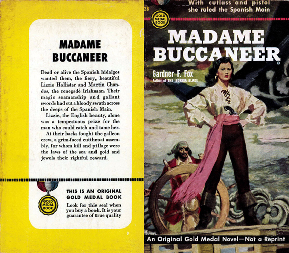 Madame Buccaneer Gardner F Fox scratchboard cover art Kurt Brugel historical fiction female pirate privateer by Barye Phillips