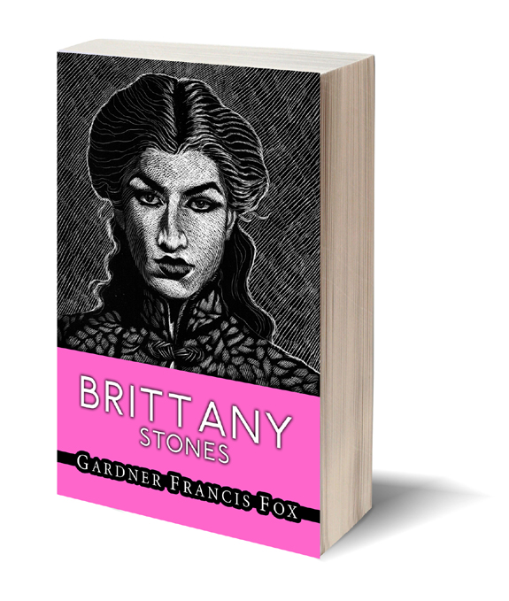 Brittany Stones by Lynna Cooper (Gardner F Fox) book cover design with scratchboard art by Kurt Brugel