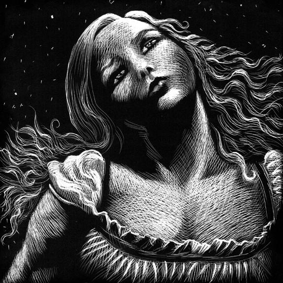 original scratchboard art by kurt Brugel for Gardner F Fox Lynna Cooper Gothic romance novel Folly Hall