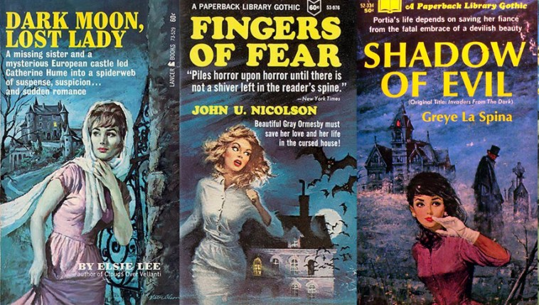 Gothic 1970s romance novel book covers