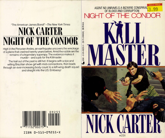 Original book cover illustration by George Gross for Nick Carter Killmaster #231 Night of the Condor
