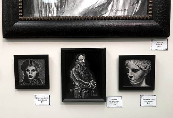 Framed scratchboard art at Talleyville Framed shoppe Wicked Winter art show Kurt Brugel