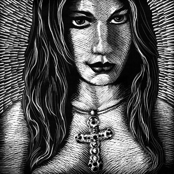 original scratchboard art by kurt brugel