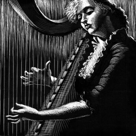 original scratchboard art illustration for Hour of the Harp by Lynna Cooper