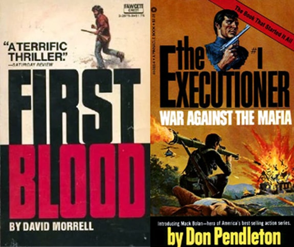 John Rambo First Blood and Mack Bolan The Executioner book covers