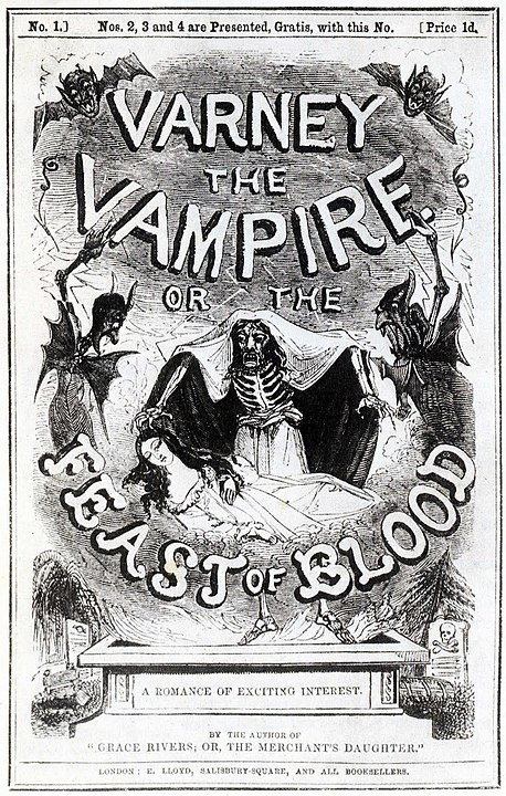 Penny Dreadful Victorian book cover for Varney the Vampire or the Beast of Blood