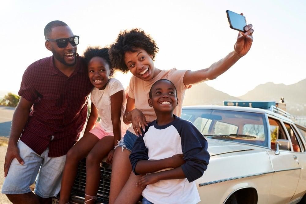 Family on Car