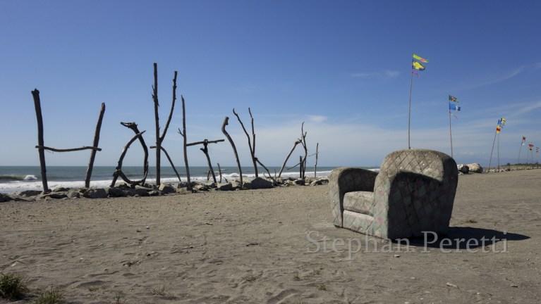 Art de plage à Hokitika, Nouvelle-Zélande