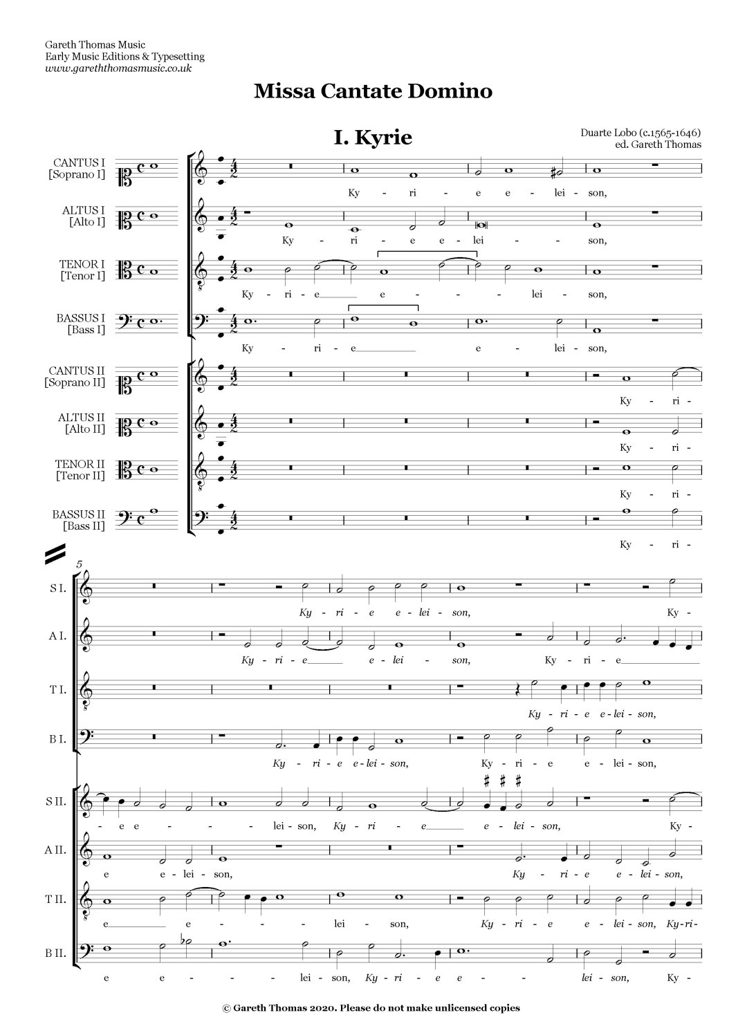 Duarte Lobo Missa Cantate Domino image