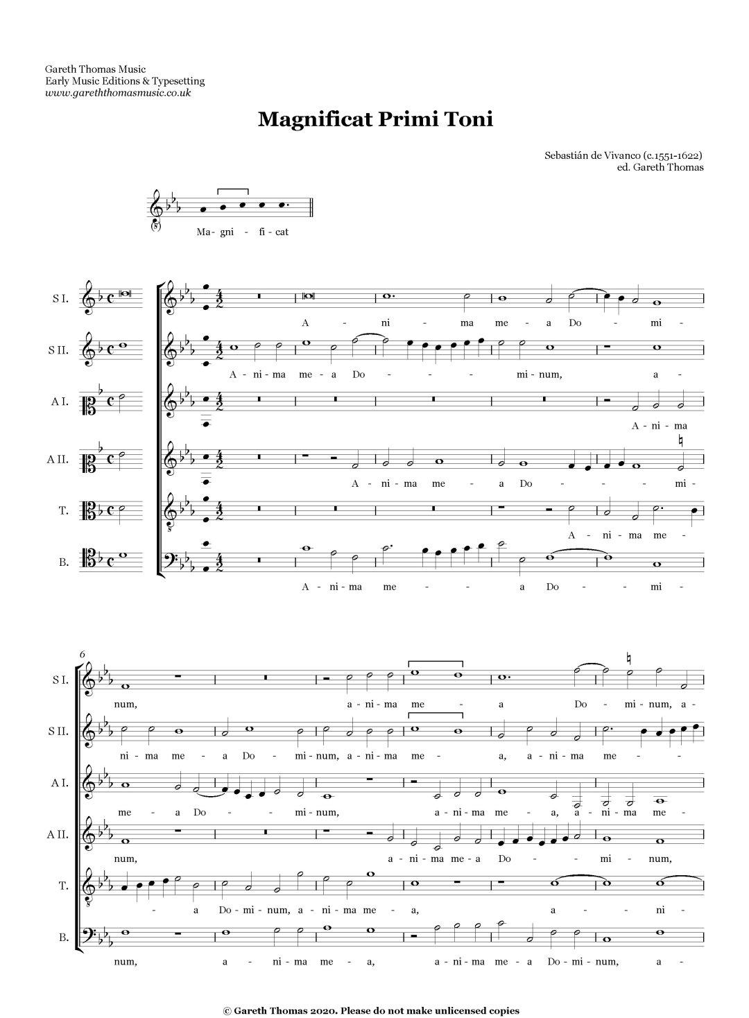Sebastián de Vivanco Magnificat Primi toni a6 image