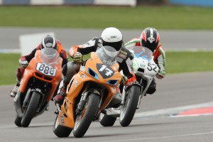Myself, Alex and Josh fighting into the Final Chicane