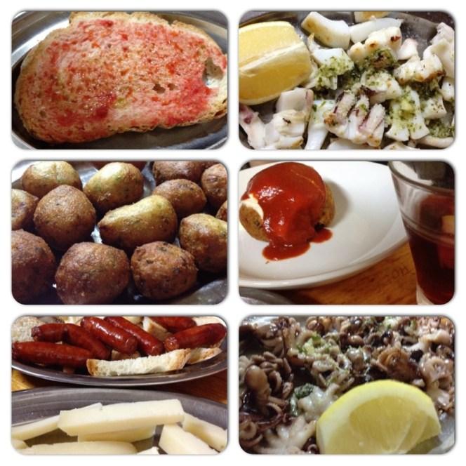 As delicias, em ordem: Pa amb tomàquet, sepia a la placha, buñuelos de bacalao, bomba picante, chistorra de pamplona, queso manchego, pulpitos a la plancha. Fotos Surian Dupont