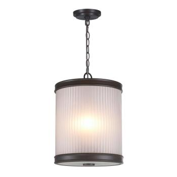 World Imports 3-Light Oil-Rubbed Bronze Pendant with Ribbed Glass Shade WI60990