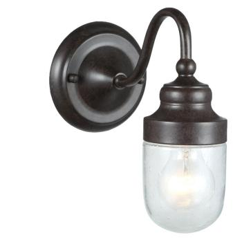 World Imports Nichols Road Outdoor 1-Light Wall with Glass Shade WI9071S-89