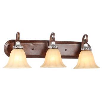 Hampton Bay 3-Light Oxide Brass with Mystique Silver Bath Light HB2078-229