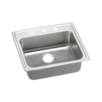 Elkay Lustertone Drop-In Stainless Steel 22″ 3-Hole Kitchen Sink LRAD2219503