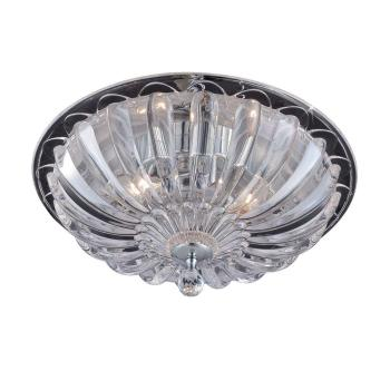 Home Decorators Vintage Collection 15.75″ 3-Light Chrome Flushmount Glass Shade