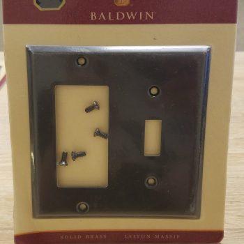 Baldwin Beveled Edge GFCI/Single Toggle Combo Plate Venetian Bronze (Lot of 2)