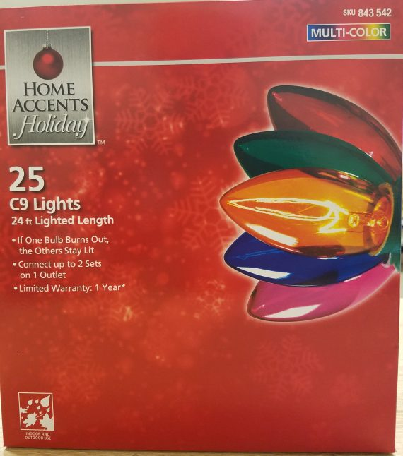 2-PACK Home Accents Holiday 25 Multi-color C9 Lights Indoor/Outdoor 24′ Length